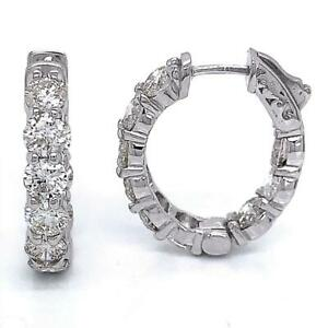 """5.50 TCW Round Diamonds 7/8"""" Oval Hoop Earrings In Solid 14k White Gold"""