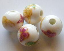 30pcs 10mm Round Porcelain/Ceramic Beads - White / Magenta Butterflies