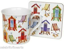 Fine China Beach Themed Mug & Coaster Set Seaside Gift Boxed Present Seaside NEW