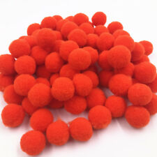 100PCS Pieces Small Fluffy Pom Poms For Decor Arts Crafts Orange 15mm Handcraft