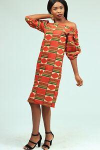 Off shoulder African print shift dress with crystal stone  details. Handmade.
