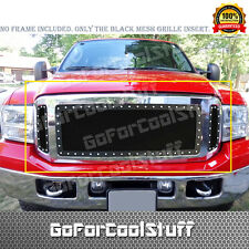 For Ford F250 F350 F450 2005-07 Upper Black Steel Wire Mesh Grill w Silver Rivet