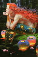 Home Decor oil painting art Print on Canvas,Fantasy VINTAGE Mermaid Picture NV54
