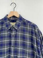 Eddie Bauer - Men's XL - Blue Plaid Flannel Button Down Long Sleeve Casual Shirt