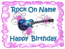EDIBLE CAKE TOPPER  ROCK GUITAR  PARTY ICING SUGAR IMAGE SHEET DECORATION