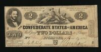 $2 1862 Confederate Note Currency Two Dollars CSA Bill