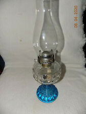 "Vintage 18"" Blue to Clear Thumbprint Glass Kerosene/Oil Lamp"