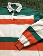Vintage Polo Ralph Lauren Rugby Shirt Long Sleeve 90s Cuff Men's L USA Striped