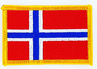 NORWAY FLAG PATCH BADGE IRON ON NEW EMBROIDERED