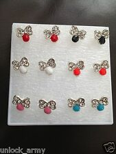 The Bow Tie Swarovski Crystal Handmade Stud Earrings Mix Colors 6 Pairs A45