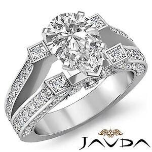 Classic 4 Prong Split Shank Pear Diamond Engagement Ring GIA H Color VS2 2.2 Ct