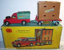ENGLAND 1962 CORGI TOYS 19 LAND ROVER CHIPPERFIELDS CIRCUS ELEPHANT CAGE TRAILER
