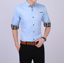 Business Office Work Men Casual Stylish Slim Fit Short Sleeve Shirt Tops Blouse