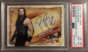 Roman Reigns 2020 Topps Autograph PSA 8 Road To WrestleMania 72/99
