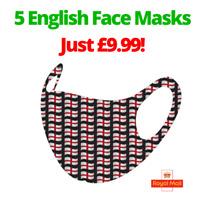 SALE! 5 Washable Reusable Face Masks - multi St George's Cross - England/English