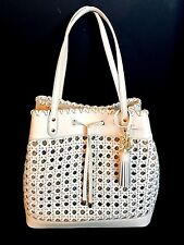 Ralph Lauren Portwood Diana Large Tote Eggshell White Basket Weave NWT