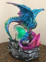 Three Dragons LED Light Large Figurine Crystal Geode Cave Ornament Statue Decor