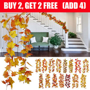 Maple Leaves Artificial Garland Autumn Fall Decora Hanging Plant for Home Garden