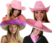 PINK WILD WEST HATS LADIES COWGIRL MEXICAN FANCY DRESS COSTUME HEN NIGHT PARTY
