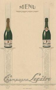 menu publicitaire champagne Abel Lepitre - Ludes - Reims