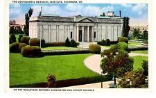 Vintage Linen Unused Postcard - The Confederate Memorial Institute, Richmond, Va