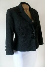 Blazer Jacket Laura Ashley 16 Bnwot Black Leopard Print Tailored Cropped Lined
