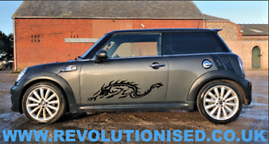 Pair of Tribal Dragon Side Stickers for Mini Cooper - Vinyl Graphics Decals