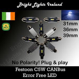 Festoon 31 - 39 mm C5W LED CAN Bus Error Free 12v Cold White C10W
