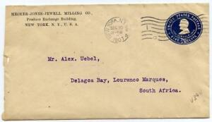 Lincoln 5c postal stationery envelope surface rate to Lourenco Marques, 1907