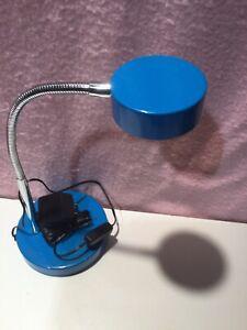 5 Watt LED  Desk Lamp Glossy Blue Finish With Chrome Gooseneck