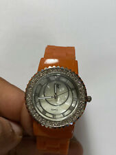 Nice Ladies Silver Tone And Brown Cuff Band BT Analog Watch