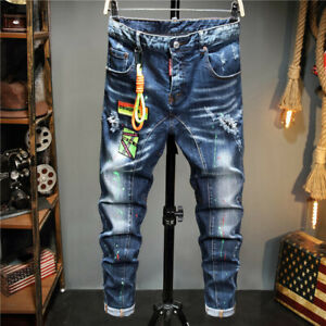 DSQ2 Washed Denim Trousers Dsquared2 Jeans Basic Casual Stretch Pants With Rope