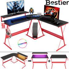 55 L Shaped Led Computer Desk Pc Corner Writing Table Workstation Home Office