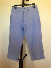 New Women's HABAND Back Elastic Waist Light Blue 100%cotton Capri Pant Size 34xS