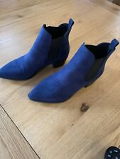 Faith Blue Suede Ankle Boots Size 5 Wide Fit New
