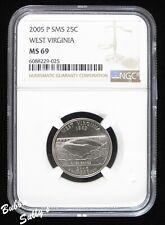 2005 P SMS/Satin Finish Statehood Quarter <> NGC MS 69 Top Pop <> West Virginia
