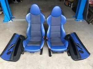 BMW Z4 E85 E86 2006-2009 M SPORT HEATED BLUE HALF LEATHER SEATS INTERIOR