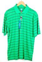 NWT Men's PGA Tour Golf Polo Rugby Bright Green Stripe Short Sleeve Shirt - XL