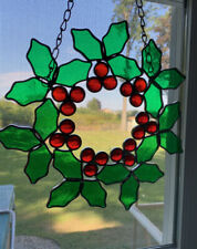 "Vintage Stained Glass Christmas Holly Wreath With Chain 10"" EUC Sun Catcher"
