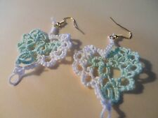 """Tatted Heart Earrings Dove Country Tatting White and Mint 1/2"""" Victorian Lacey"""
