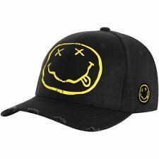 Official Nirvana Smiley Logo Black Baseball Cap Hat - One Size Unisex Music Gear
