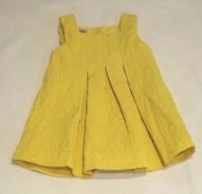 NEXT BABY GIRL 3m - 6m YELLOW PLEATED  EMBOSSED FLOWERS PARTY SUMMER DRESS