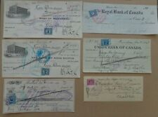 6 Checks cheques 1927 to 1951 Canadian Businesses - 6 different banks
