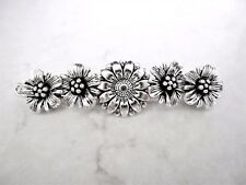 Silver flower metal filigree hair pin clip barrette for fine thin hair