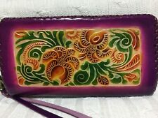 "HAND MADE EMBOSSED GENUINE LEATHER FLORAL WALLET/CLUTCH/WRISTLET (4.5"" X  8.0"")"