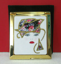 Gold Tone Woman's Face Make-up Vanity Compact Mirror