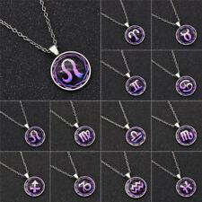 Women Purple 12 Zodiac Cabochon Necklace Ornaments  Jewellery Glass Accessories