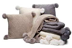 "Martha Stewart Basketweave Pompom Mink 20 x 20"" Sweater Knit Decorative Pillow"