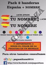 2 x Pegatinas nombres + Bandera España Sticker vinilo Adhesivo coche moto bici