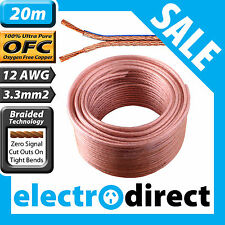 20m 12AWG (3.3mm2) Speaker Cable Roll 100% Pure OFC - 12 Guage Wire Audio Cord